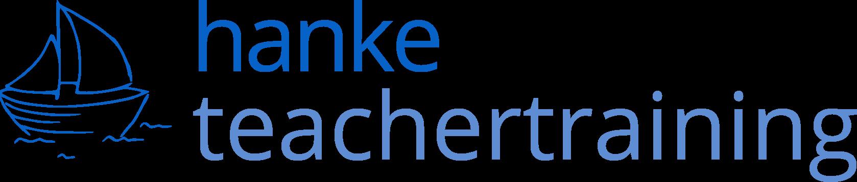 Logo Hanke Teachertraining in blauer Schrift mit Schiffchen